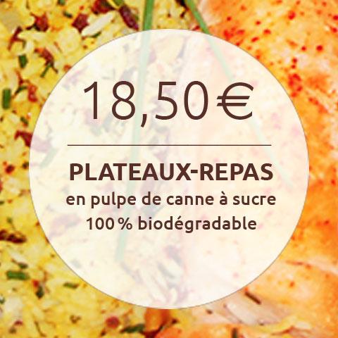18,50 plateaux-repas en pulpe de canne à sucre 100% biodégradable