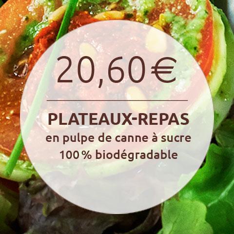 20,60€ plateaux repas en pulpe de canne à sucre biodégradable